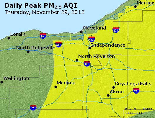 Peak Particles PM<sub>2.5</sub> (24-hour) - http://files.airnowtech.org/airnow/2012/20121129/peak_pm25_cleveland_oh.jpg