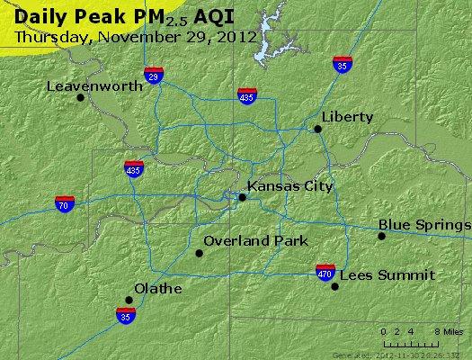 Peak Particles PM<sub>2.5</sub> (24-hour) - http://files.airnowtech.org/airnow/2012/20121129/peak_pm25_kansascity_mo.jpg