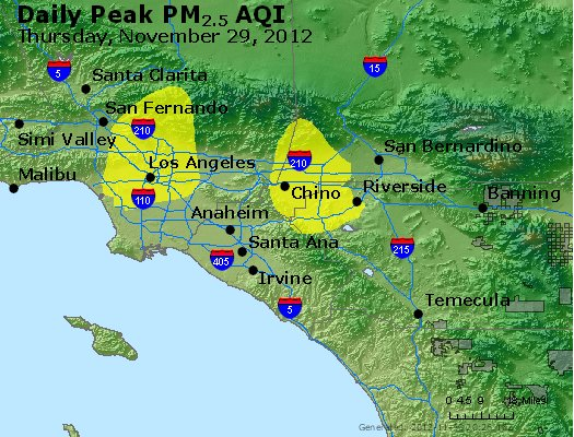 Peak Particles PM<sub>2.5</sub> (24-hour) - http://files.airnowtech.org/airnow/2012/20121129/peak_pm25_losangeles_ca.jpg