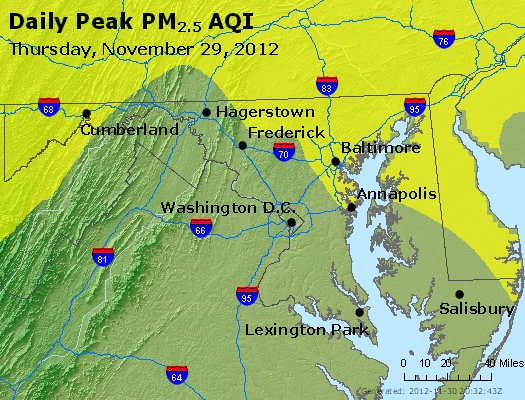Peak Particles PM<sub>2.5</sub> (24-hour) - http://files.airnowtech.org/airnow/2012/20121129/peak_pm25_maryland.jpg