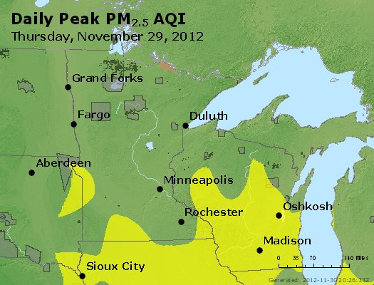 Peak Particles PM<sub>2.5</sub> (24-hour) - http://files.airnowtech.org/airnow/2012/20121129/peak_pm25_mn_wi.jpg