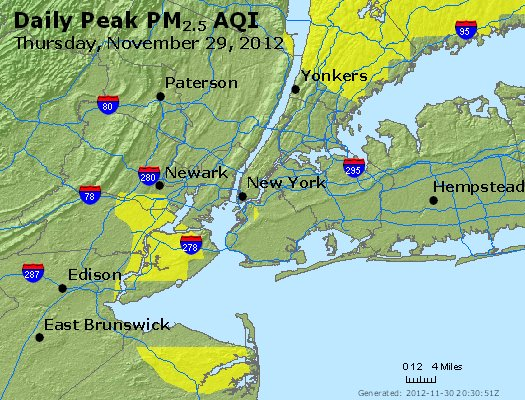 Peak Particles PM<sub>2.5</sub> (24-hour) - http://files.airnowtech.org/airnow/2012/20121129/peak_pm25_newyork_ny.jpg