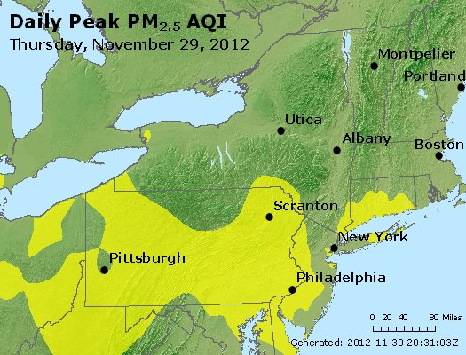 Peak Particles PM<sub>2.5</sub> (24-hour) - http://files.airnowtech.org/airnow/2012/20121129/peak_pm25_ny_pa_nj.jpg