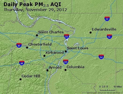 Peak Particles PM<sub>2.5</sub> (24-hour) - http://files.airnowtech.org/airnow/2012/20121129/peak_pm25_stlouis_mo.jpg