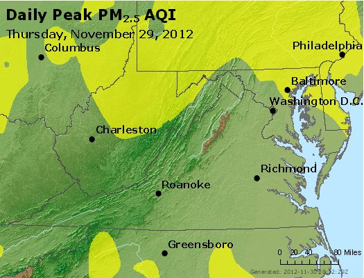 Peak Particles PM<sub>2.5</sub> (24-hour) - http://files.airnowtech.org/airnow/2012/20121129/peak_pm25_va_wv_md_de_dc.jpg