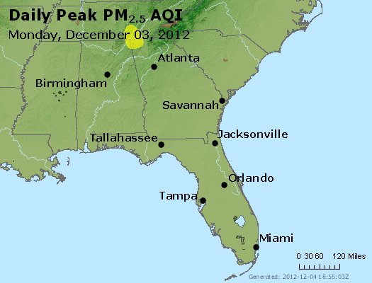 Peak Particles PM<sub>2.5</sub> (24-hour) - http://files.airnowtech.org/airnow/2012/20121203/peak_pm25_al_ga_fl.jpg