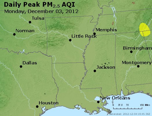 Peak Particles PM<sub>2.5</sub> (24-hour) - http://files.airnowtech.org/airnow/2012/20121203/peak_pm25_ar_la_ms.jpg