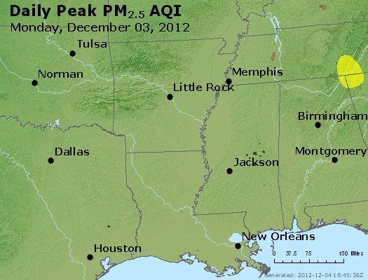 Peak Particles PM<sub>2.5</sub> (24-hour) - http://files.airnowtech.org/airnow/2012/20121203/peak_pm25_ar_la_ms.jpg