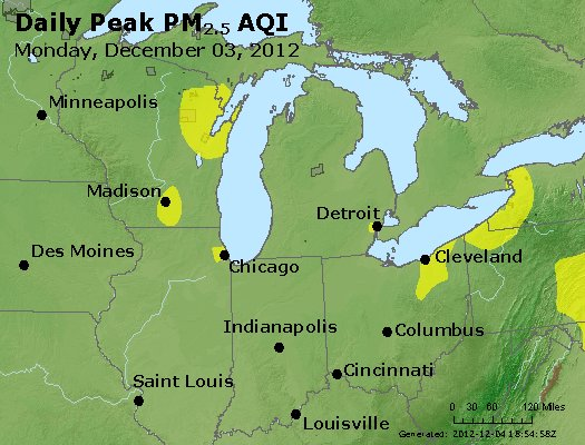 Peak Particles PM<sub>2.5</sub> (24-hour) - http://files.airnowtech.org/airnow/2012/20121203/peak_pm25_mi_in_oh.jpg
