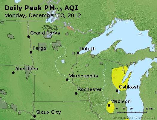 Peak Particles PM<sub>2.5</sub> (24-hour) - http://files.airnowtech.org/airnow/2012/20121203/peak_pm25_mn_wi.jpg