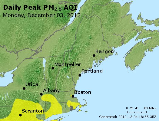 Peak Particles PM<sub>2.5</sub> (24-hour) - http://files.airnowtech.org/airnow/2012/20121203/peak_pm25_vt_nh_ma_ct_ri_me.jpg