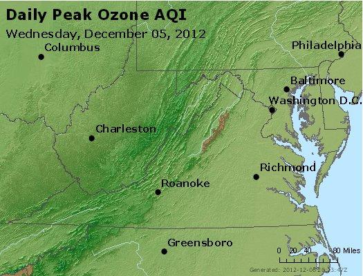Peak Ozone (8-hour) - http://files.airnowtech.org/airnow/2012/20121205/peak_o3_va_wv_md_de_dc.jpg