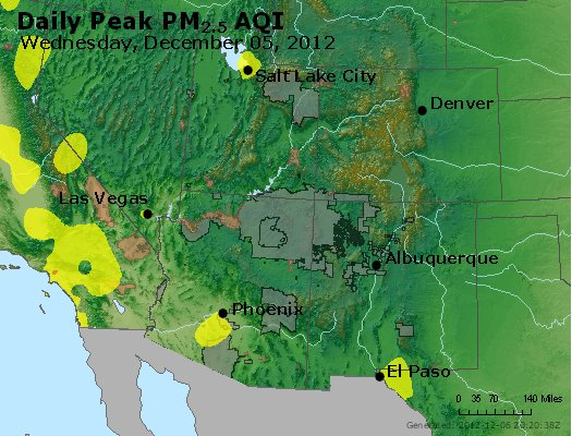 Peak Particles PM<sub>2.5</sub> (24-hour) - http://files.airnowtech.org/airnow/2012/20121205/peak_pm25_co_ut_az_nm.jpg