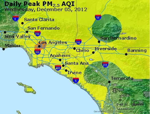 Peak Particles PM<sub>2.5</sub> (24-hour) - http://files.airnowtech.org/airnow/2012/20121205/peak_pm25_losangeles_ca.jpg
