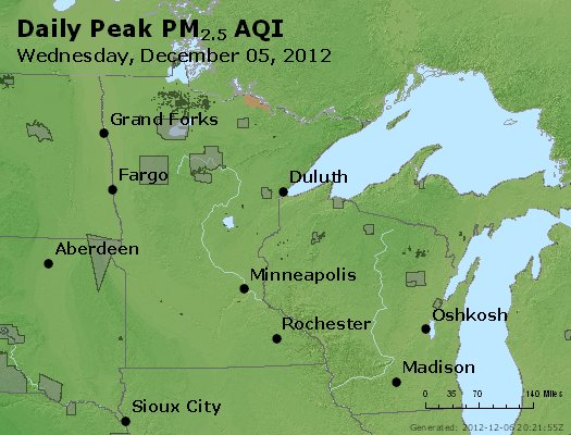 Peak Particles PM<sub>2.5</sub> (24-hour) - http://files.airnowtech.org/airnow/2012/20121205/peak_pm25_mn_wi.jpg