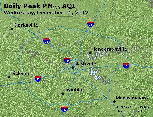 Peak Particles PM<sub>2.5</sub> (24-hour) - http://files.airnowtech.org/airnow/2012/20121205/peak_pm25_nashville_tn.jpg