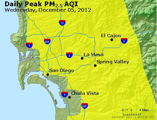 Peak Particles PM<sub>2.5</sub> (24-hour) - http://files.airnowtech.org/airnow/2012/20121205/peak_pm25_sandiego_ca.jpg