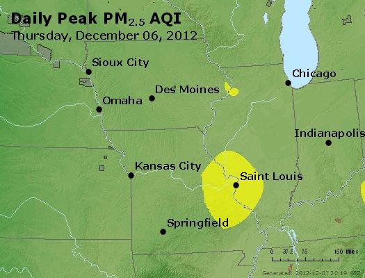 Peak Particles PM<sub>2.5</sub> (24-hour) - http://files.airnowtech.org/airnow/2012/20121206/peak_pm25_ia_il_mo.jpg