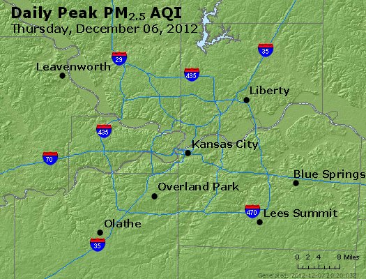Peak Particles PM<sub>2.5</sub> (24-hour) - http://files.airnowtech.org/airnow/2012/20121206/peak_pm25_kansascity_mo.jpg