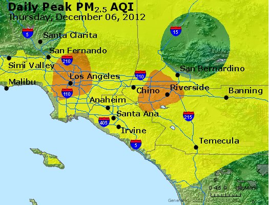 Peak Particles PM<sub>2.5</sub> (24-hour) - http://files.airnowtech.org/airnow/2012/20121206/peak_pm25_losangeles_ca.jpg