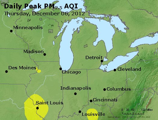 Peak Particles PM<sub>2.5</sub> (24-hour) - http://files.airnowtech.org/airnow/2012/20121206/peak_pm25_mi_in_oh.jpg