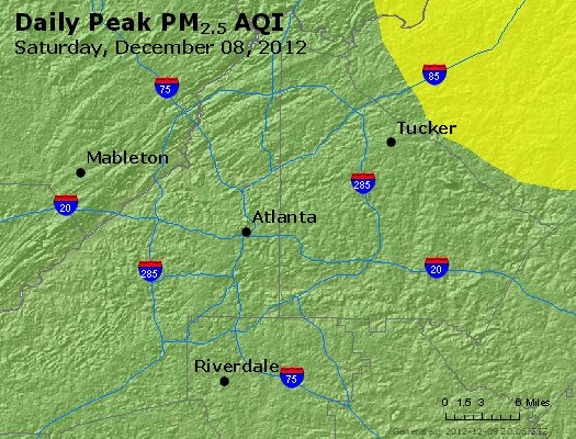 Peak Particles PM<sub>2.5</sub> (24-hour) - http://files.airnowtech.org/airnow/2012/20121208/peak_pm25_atlanta_ga.jpg