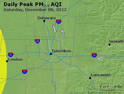 Peak Particles PM<sub>2.5</sub> (24-hour) - http://files.airnowtech.org/airnow/2012/20121208/peak_pm25_columbus_oh.jpg