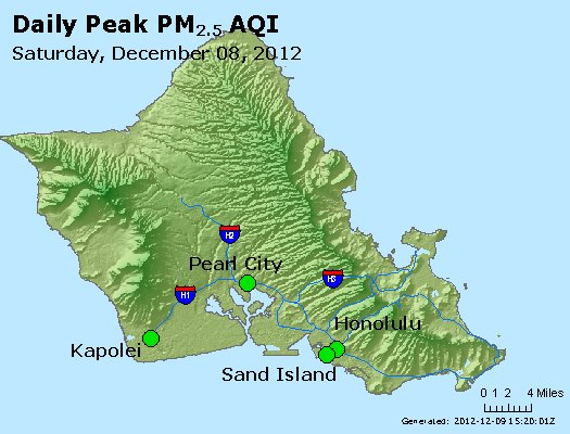 Peak Particles PM<sub>2.5</sub> (24-hour) - http://files.airnowtech.org/airnow/2012/20121208/peak_pm25_honolulu_hi.jpg