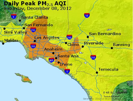 Peak Particles PM<sub>2.5</sub> (24-hour) - http://files.airnowtech.org/airnow/2012/20121208/peak_pm25_losangeles_ca.jpg