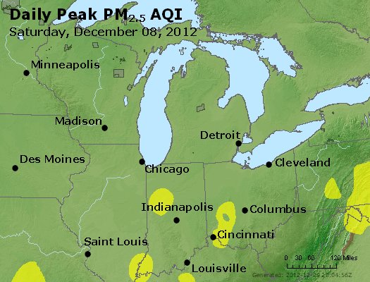 Peak Particles PM<sub>2.5</sub> (24-hour) - http://files.airnowtech.org/airnow/2012/20121208/peak_pm25_mi_in_oh.jpg