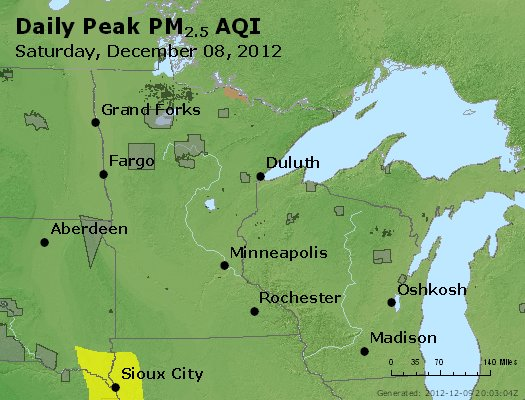 Peak Particles PM<sub>2.5</sub> (24-hour) - http://files.airnowtech.org/airnow/2012/20121208/peak_pm25_mn_wi.jpg
