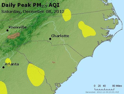 Peak Particles PM<sub>2.5</sub> (24-hour) - http://files.airnowtech.org/airnow/2012/20121208/peak_pm25_nc_sc.jpg