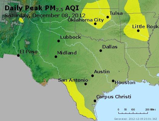 Peak Particles PM<sub>2.5</sub> (24-hour) - http://files.airnowtech.org/airnow/2012/20121208/peak_pm25_tx_ok.jpg