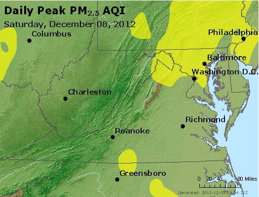 Peak Particles PM<sub>2.5</sub> (24-hour) - http://files.airnowtech.org/airnow/2012/20121208/peak_pm25_va_wv_md_de_dc.jpg