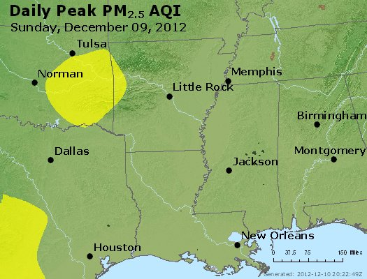 Peak Particles PM<sub>2.5</sub> (24-hour) - http://files.airnowtech.org/airnow/2012/20121209/peak_pm25_ar_la_ms.jpg