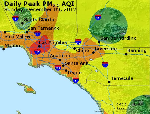 Peak Particles PM<sub>2.5</sub> (24-hour) - http://files.airnowtech.org/airnow/2012/20121209/peak_pm25_losangeles_ca.jpg
