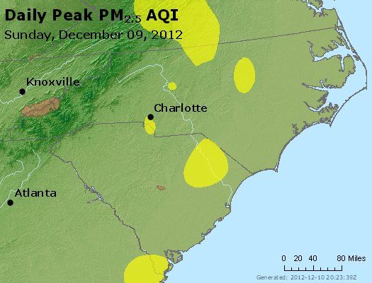 Peak Particles PM<sub>2.5</sub> (24-hour) - http://files.airnowtech.org/airnow/2012/20121209/peak_pm25_nc_sc.jpg