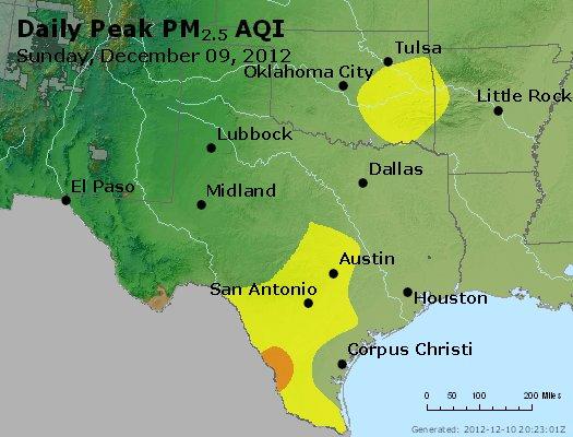 Peak Particles PM<sub>2.5</sub> (24-hour) - http://files.airnowtech.org/airnow/2012/20121209/peak_pm25_tx_ok.jpg