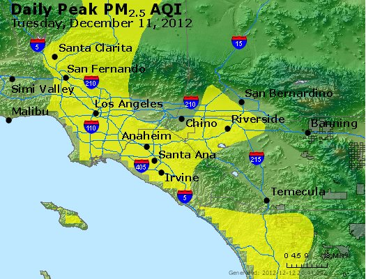 Peak Particles PM<sub>2.5</sub> (24-hour) - http://files.airnowtech.org/airnow/2012/20121211/peak_pm25_losangeles_ca.jpg