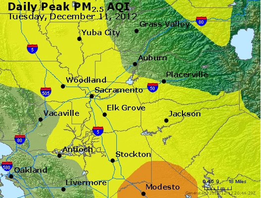 Peak Particles PM<sub>2.5</sub> (24-hour) - http://files.airnowtech.org/airnow/2012/20121211/peak_pm25_sacramento_ca.jpg