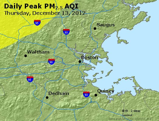 Peak Particles PM<sub>2.5</sub> (24-hour) - http://files.airnowtech.org/airnow/2012/20121213/peak_pm25_boston_ma.jpg