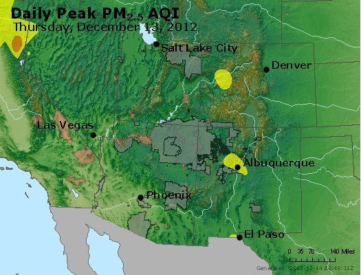 Peak Particles PM<sub>2.5</sub> (24-hour) - http://files.airnowtech.org/airnow/2012/20121213/peak_pm25_co_ut_az_nm.jpg