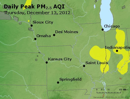 Peak Particles PM<sub>2.5</sub> (24-hour) - http://files.airnowtech.org/airnow/2012/20121213/peak_pm25_ia_il_mo.jpg