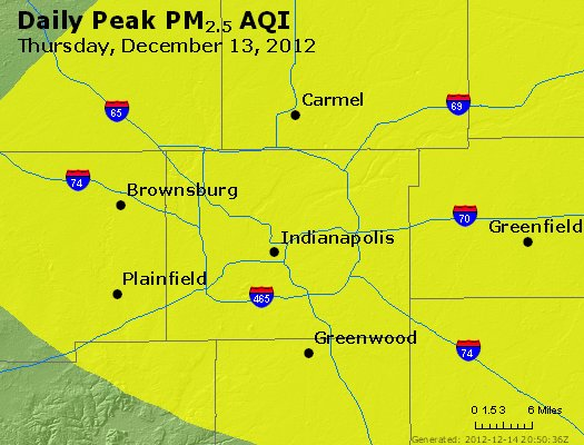 Peak Particles PM<sub>2.5</sub> (24-hour) - http://files.airnowtech.org/airnow/2012/20121213/peak_pm25_indianapolis_in.jpg