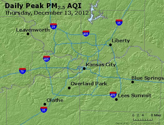 Peak Particles PM<sub>2.5</sub> (24-hour) - http://files.airnowtech.org/airnow/2012/20121213/peak_pm25_kansascity_mo.jpg