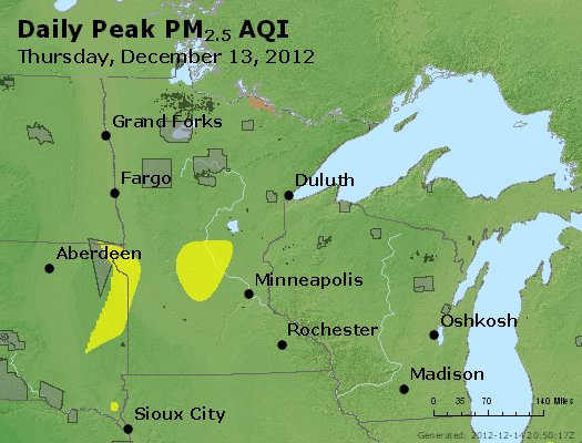 Peak Particles PM<sub>2.5</sub> (24-hour) - http://files.airnowtech.org/airnow/2012/20121213/peak_pm25_mn_wi.jpg