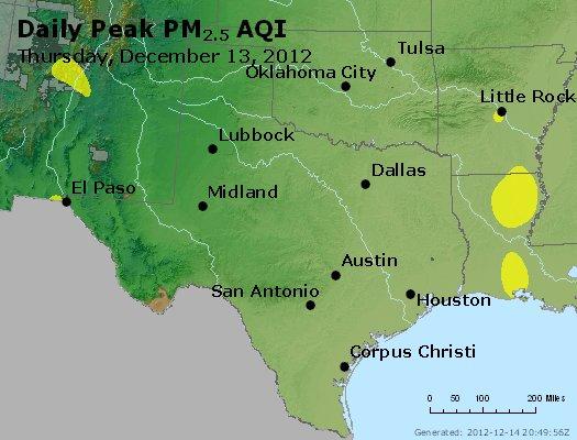 Peak Particles PM<sub>2.5</sub> (24-hour) - http://files.airnowtech.org/airnow/2012/20121213/peak_pm25_tx_ok.jpg