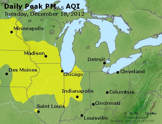 Peak Particles PM<sub>2.5</sub> (24-hour) - http://files.airnowtech.org/airnow/2012/20121218/peak_pm25_mi_in_oh.jpg