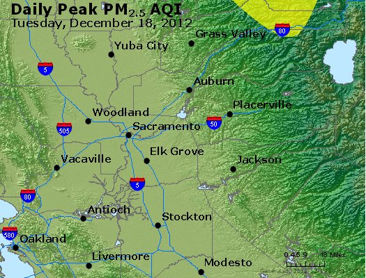 Peak Particles PM<sub>2.5</sub> (24-hour) - http://files.airnowtech.org/airnow/2012/20121218/peak_pm25_sacramento_ca.jpg