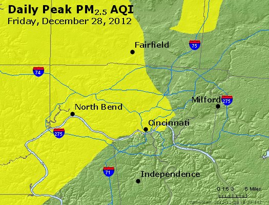 Peak Particles PM<sub>2.5</sub> (24-hour) - http://files.airnowtech.org/airnow/2012/20121228/peak_pm25_cincinnati_oh.jpg